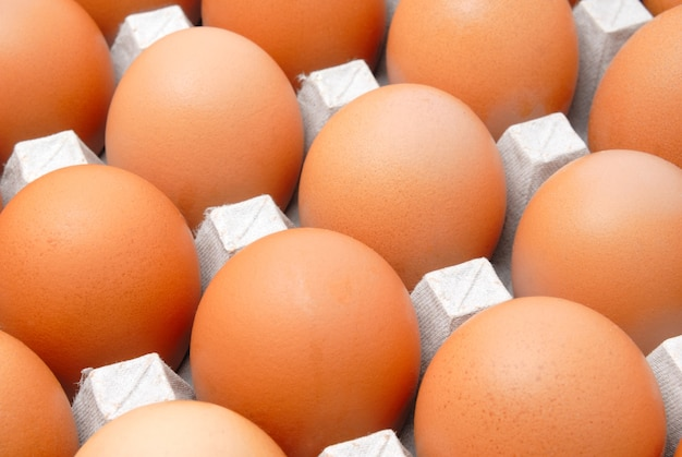 Свежие сельские яйца упакованы в картонную тару