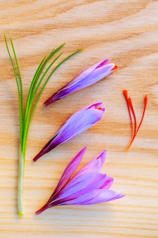 나무 표면에 신선한 사프란 줄기와 꽃. 공간을 복사합니다.