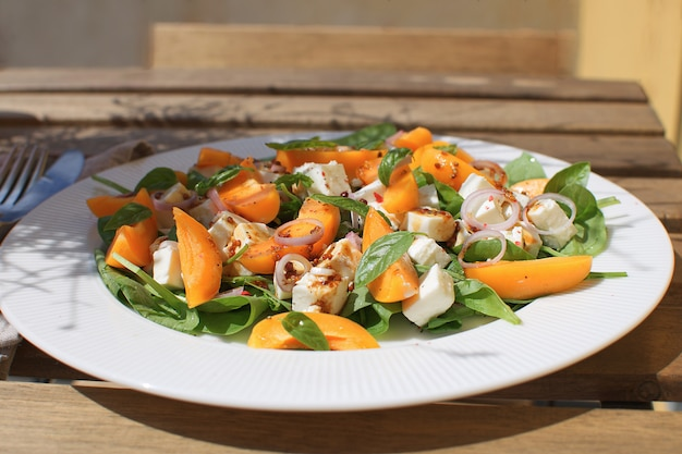 Fresh salad apricots spinach feta cheese