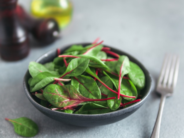 Fresh salad of green chard leaves or mangold fresh baby beet leaves in craft ceramic bowl. copy space for text. natural day light