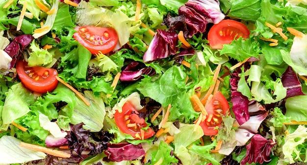 신선한 샐러드 나뭇잎 혼합 배경, 패턴 또는 질감
