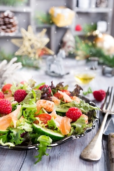 Fresh salad with smoked salmon