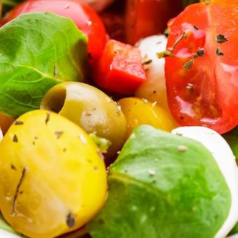 Свежий салат с помидорами, оливками и моцареллой со специями