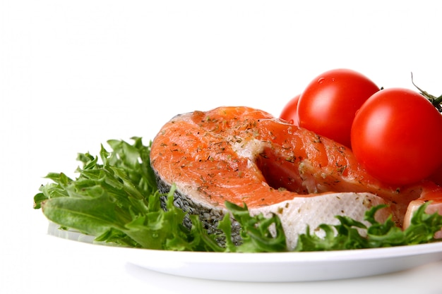 Fresh salmon garnish with salad