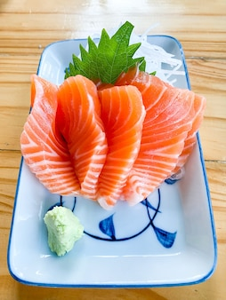 Fresh salmon japanese food on the table