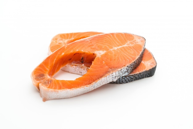 Fresh salmon raw on white background