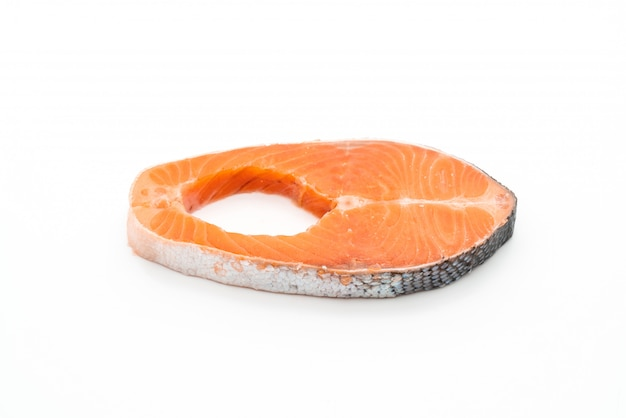 Fresh salmon raw on white