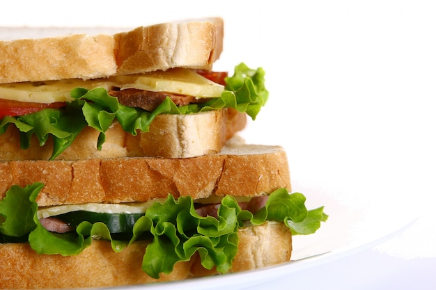 Fresh sandvich with vegetables and tomatoes