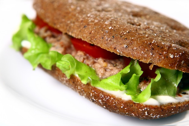 Fresh sandwich with fresh vegetables