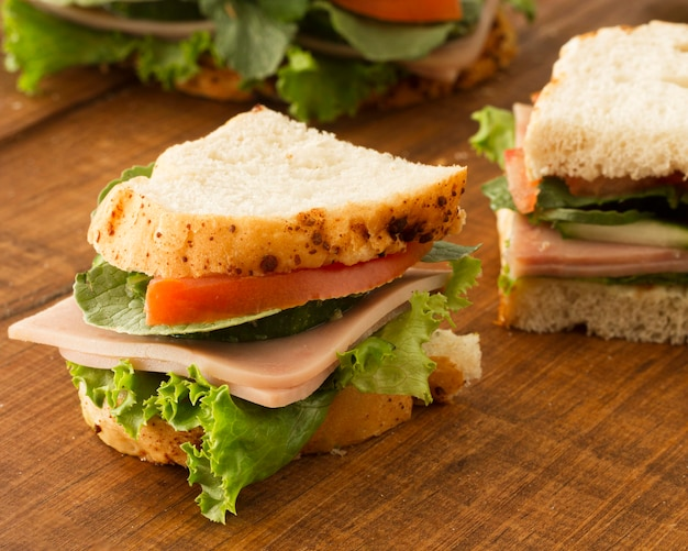Fresh sandwich with salami and vegetables
