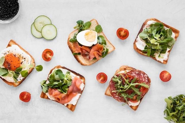 Fresh sandwiches assortment on white background