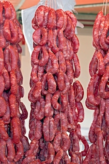 Fresh sausage exposed on market stall