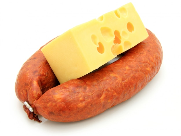 Fresh sausage with cheese Premium Photo