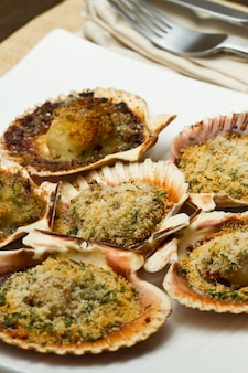 Fresh scallops au gratin in the oven