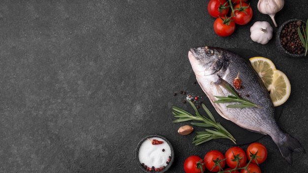 Fresh sea bream fish flat lay copy space