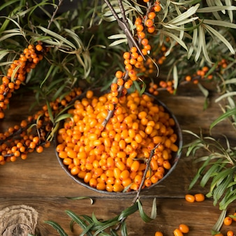 Fresh sea buckthorn berries on a vintage plate. scattered branches and berries of sea buckthorn