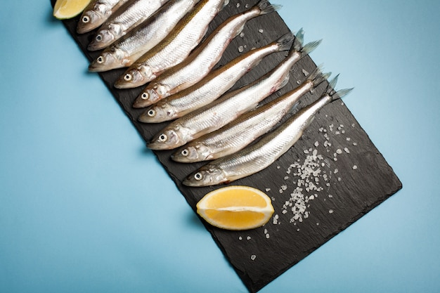 Fresh sea fish smelt or sardines.