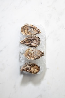 Fresh seafood raw natural closed oysters