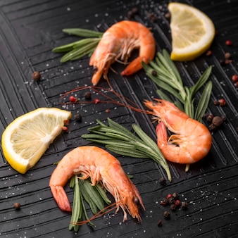 Fresh seafood shrimp with herbs and lemon