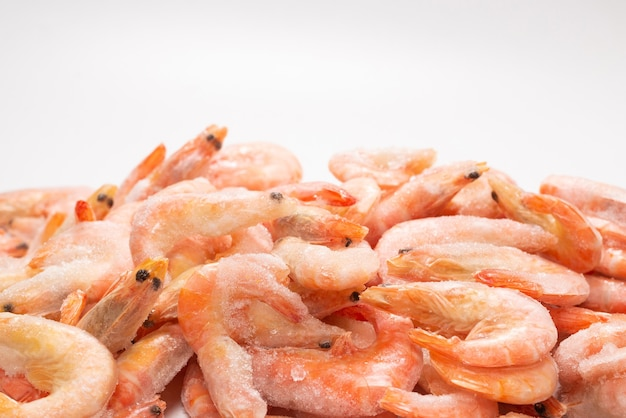 Fresh shrimps in ice. top view.