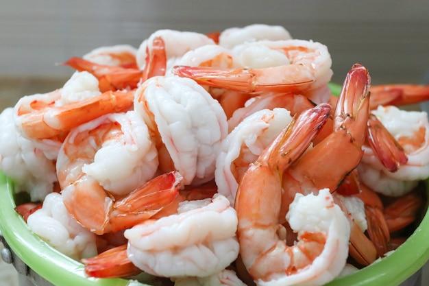 Fresh shrimps served on plate