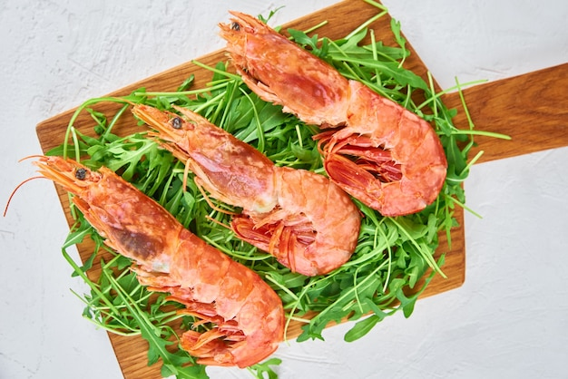 Fresh shrimps with leaves