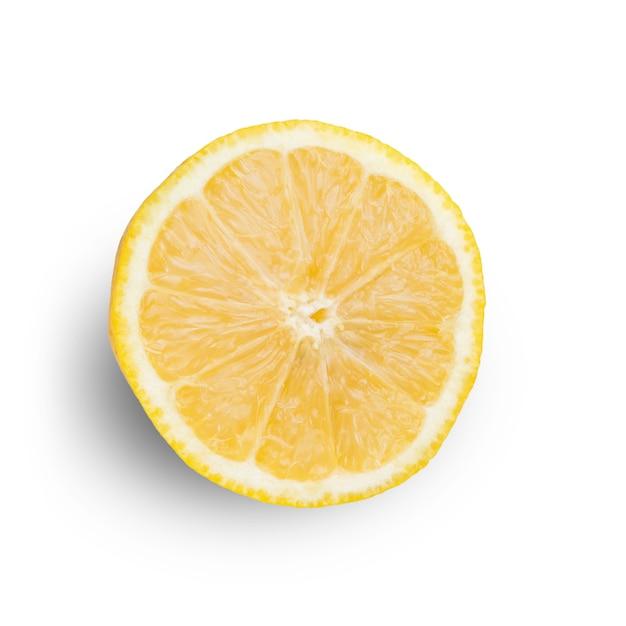 신선한 시칠리아 레몬 반 조각 흰색 배경에 고립. 평면도