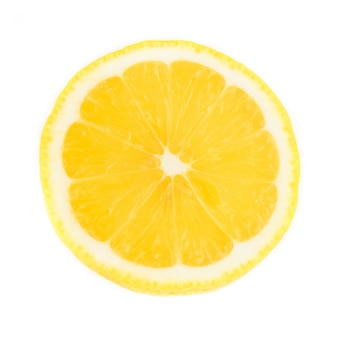 Fresh slice lemon isolated on white background