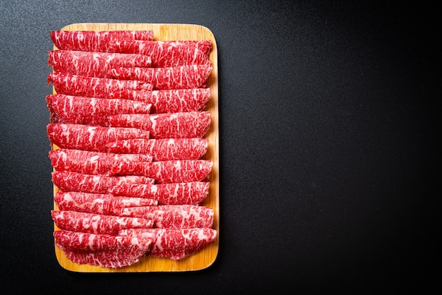 Fresh sliced beef with marbled texture