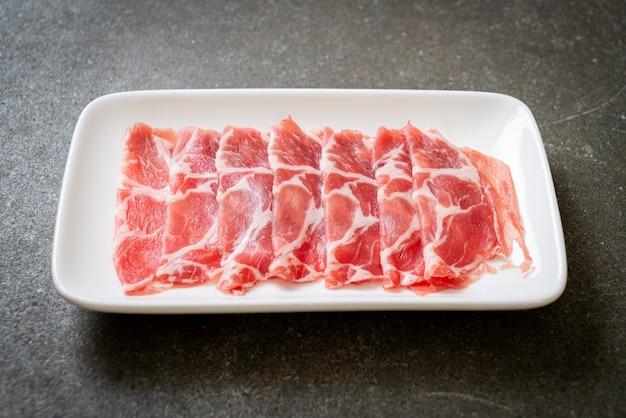 Fresh sliced raw pork belly