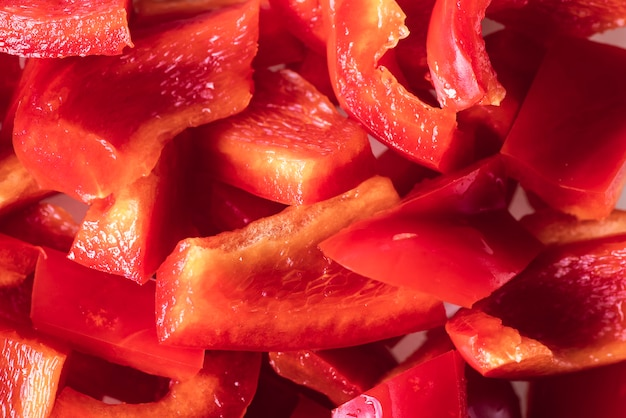 Fresh slices of sweet red peppers