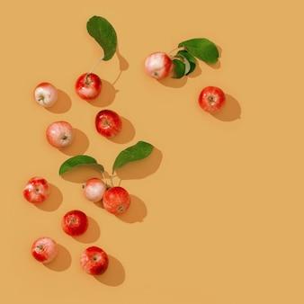 Свежие маленькие красные яблоки и зеленые листья на медовом цветном фоне дижона