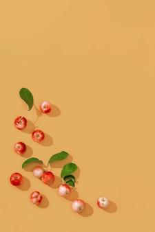 꿀 디종에 어두운 그림자가있는 신선한 작은 빨간 사과와 녹색 잎