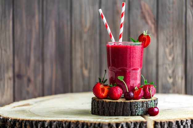 Fresh smoothie and fruits