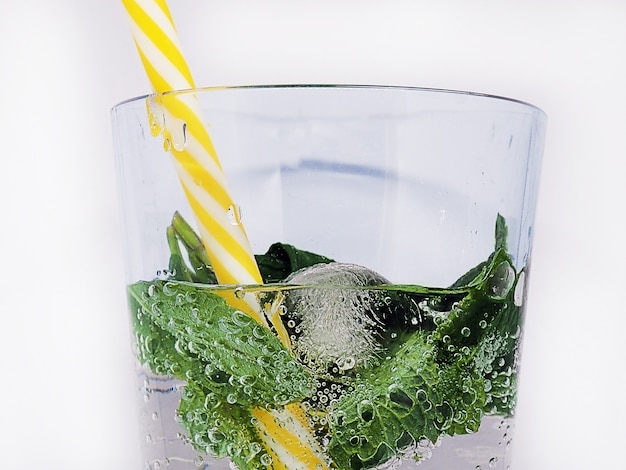 Fresh soda drink with mint isolated on white bacground.