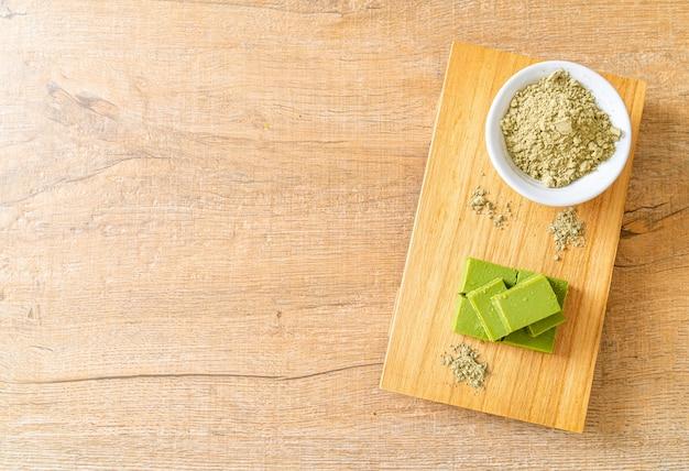 Fresh and soft matcha green tea chocolate with matcha green tea powder