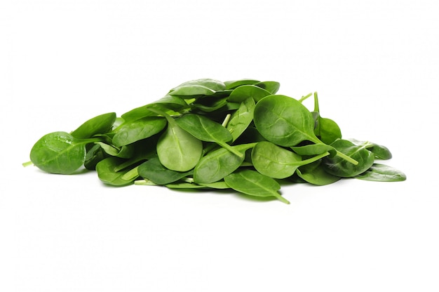 고립 된 신선한 시금치 잎