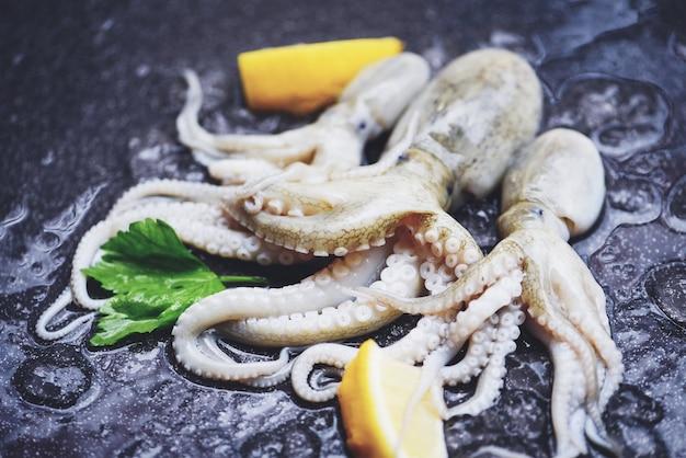 Свежие кальмары, осьминоги или каракатицы для приготовленной еды, салат-ресторан / сырой кальмар на льду с лимоном на рынке морепродуктов темной тарелки