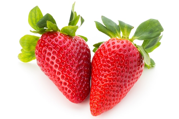 Fresh strawberries close up isolated