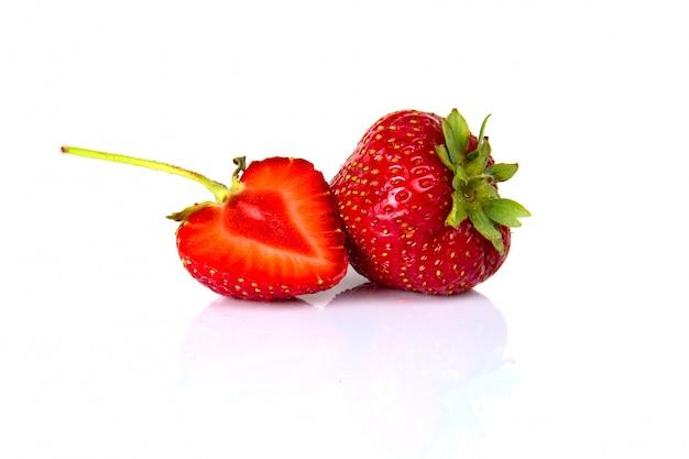 Fresh strawberries on white isolated background.