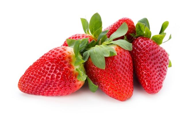 Fresh strawberries on white.