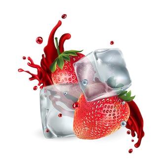 얼음 조각과 주스의 스플래시와 신선한 딸기