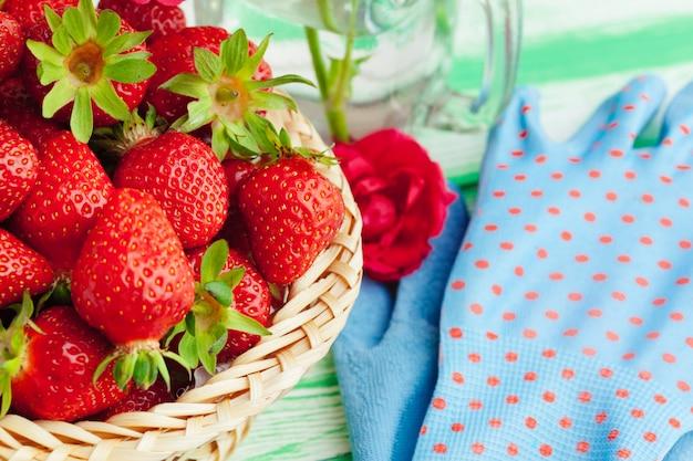 Fresh strawberry in basket