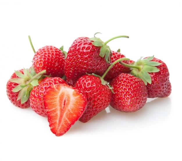 Fresh strawberry isolated fruit on white
