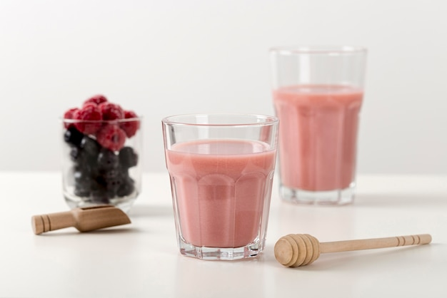 Fresh strawberry smoothie in glasses