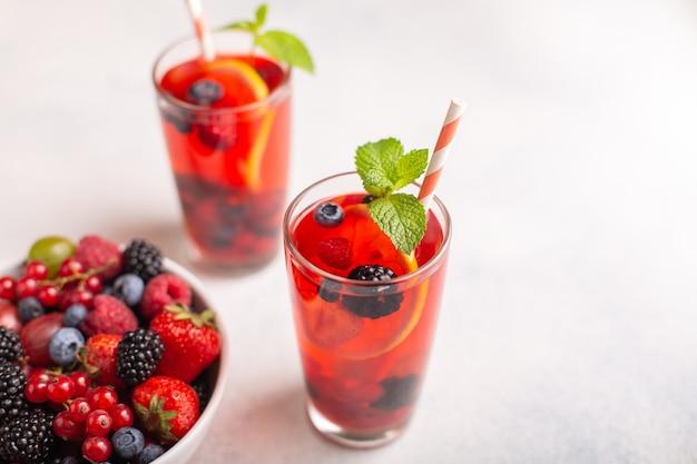 Fresh summer berry drink with lemonnd mint.