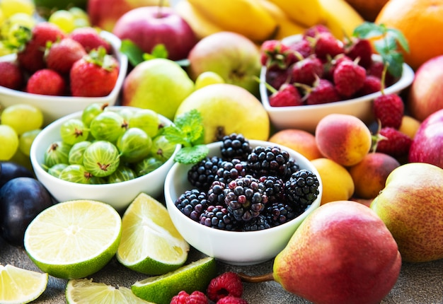 Fresh summer fruits and berries