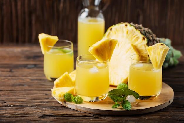 Fresh summer pineapple juice