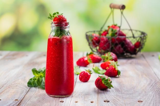 Fresh summer strawberry smoothie