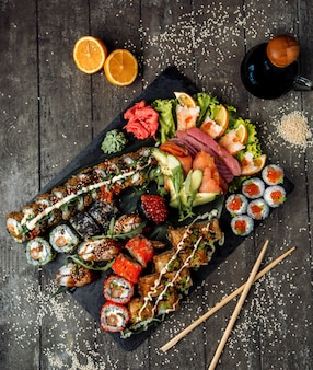 Fresh sushi set on the table top view
